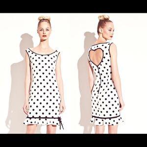Betsey Johnson Heart Back Polka Dot Dress Size 14